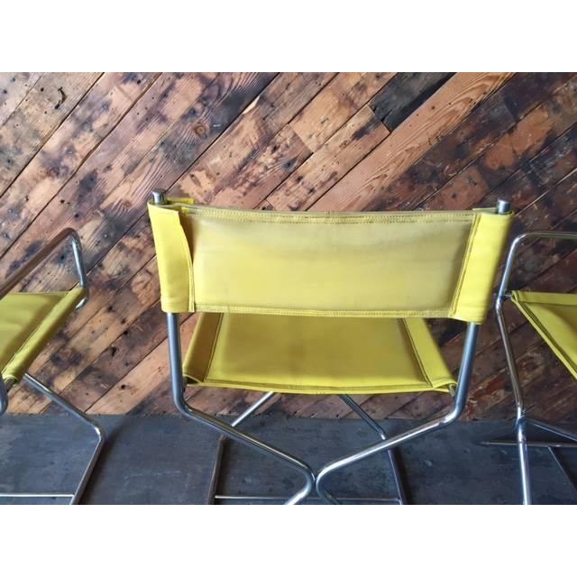 1970's Chrome Yellow Vinyl Directors Chairs - 4 - Image 6 of 6