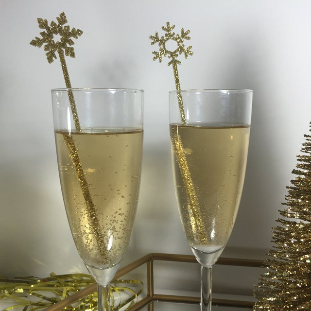 Image of Gold Glitter Snowflake Drink Stirrers - Set of 6