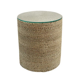 Round Seagrass Rope Side Table