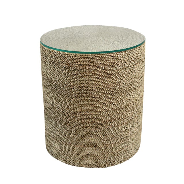 round seagrass rope side table chairish. Black Bedroom Furniture Sets. Home Design Ideas