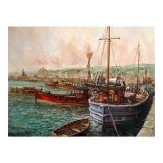 "John Peirson ""Fishing Boats Moored at Dusk"" Oil Painting"