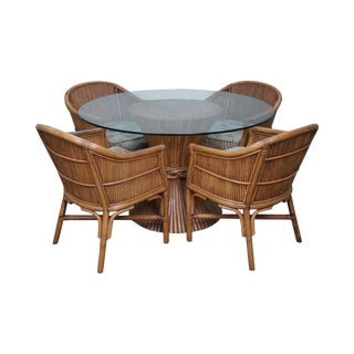 Quality Rattan Sheaf of Wheat Round Glass Top Table & 4 Barrel Chairs Set