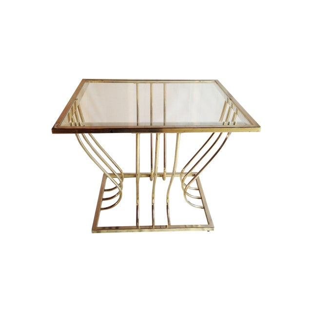 Vintage Brass Coffee Table W Beveled Glass Chairish