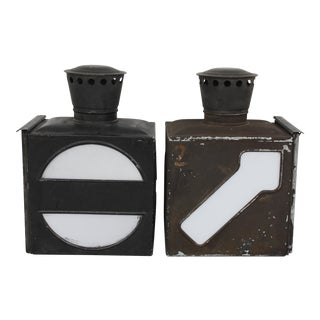 East German Metal Shipping Lanterns- A Pair