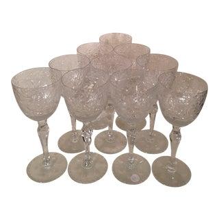 1910's Cut Wine Glasses - Set of 10