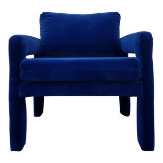 Royal Blue Velvet Arm Chair