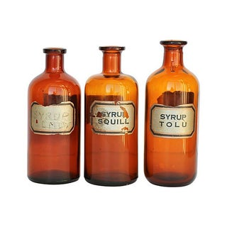 Amber Glass Apothecary Bottles - Set of 3
