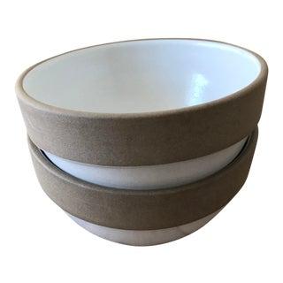 Heath Rim Line White Dessert Bowls - a Pair