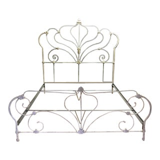 White Iron Ornate Cal-King Bed Frame