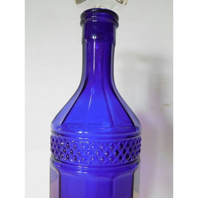Faceted Cobalt Glass Decanter - Image 4 of 6