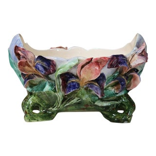 French Hand-Painted Barbotine Floral Cache Pot