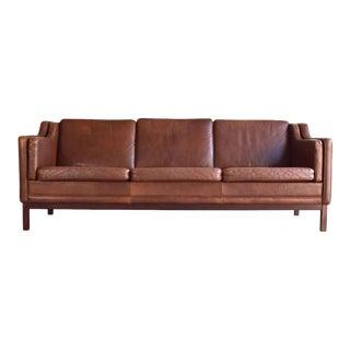 Classic Børge Mogensen Style Danish Leather Sofa