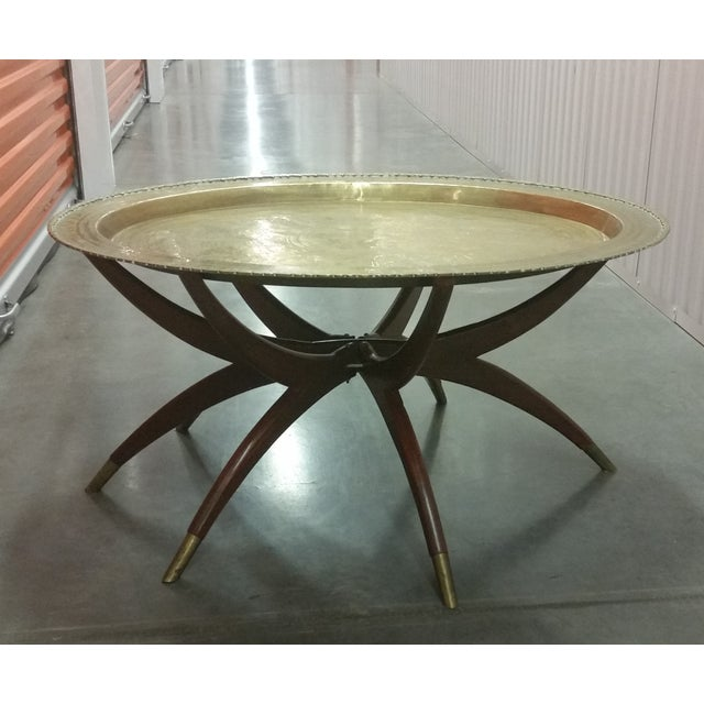 Mid-Century Brass Top Moroccan Style Coffee Table