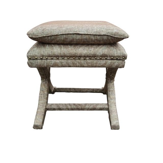 Natural Zebra X Bench Ottoman Chairish