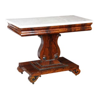 Mahogany & Marble Top Lyre Side Table