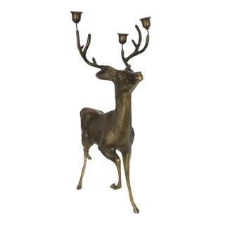 Vintage Brass Reindeer Candleabra