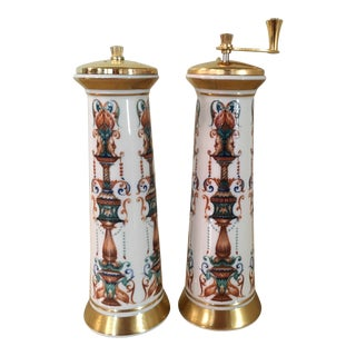Porcelain Lenox Lido Salt & Pepper Mill Set - A Pair