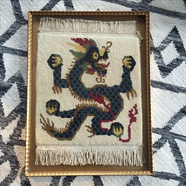 Image of Vintage Asian Dragon Framed Textile