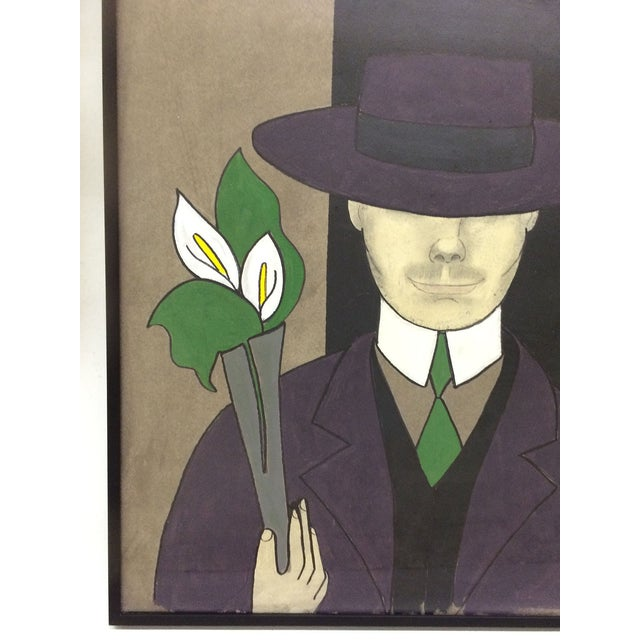 Image of Painting of Gentleman Carrying Lilies