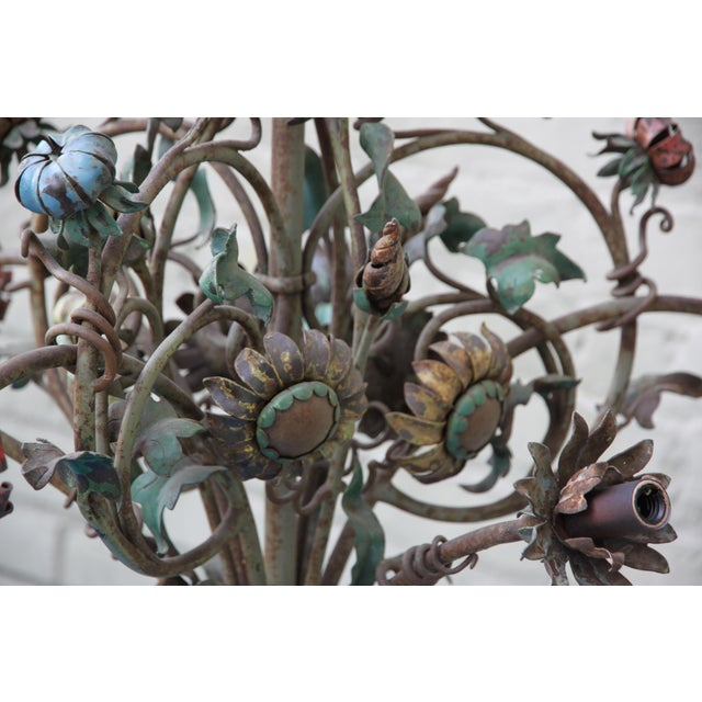 6-Light French Wrought Iron Chandelier - Image 4 of 6