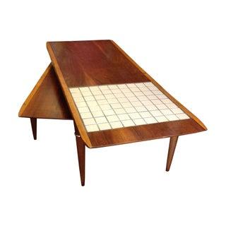 Danish Modern Boomerang Swivel Tile Coffee Table