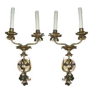 A Pair of Louis XV Style Italian Gilt Metal Two-light Sconces
