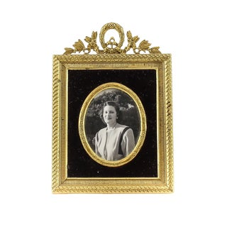 Gilt Bronze & Black Velvet Border Photo Frame