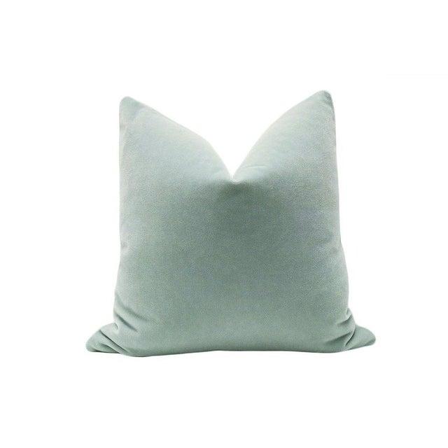 "22"" Mohair Velvet Pillows in Spa Blue - A Pair - Image 2 of 5"