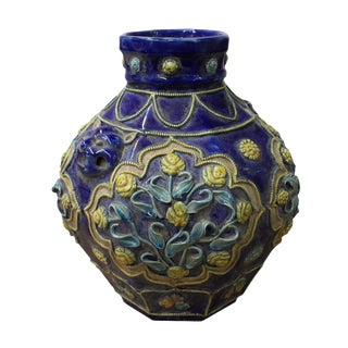 Handmade Ceramic Navy Blue Dimensional Flower Vase