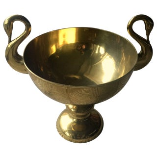 Large Brass Trophy Cup With Swan Handles