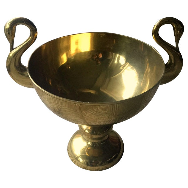 Large Brass Trophy Cup With Swan Handles - Image 1 of 4