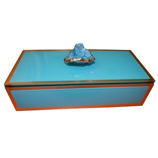 Turquoise Geode Glass Trinket Box