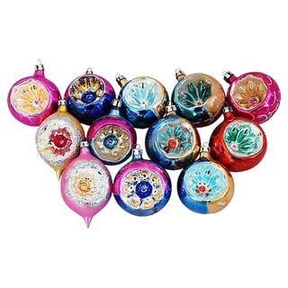 Fancy European Indent Christmas Ornaments w/Box - Set of 12