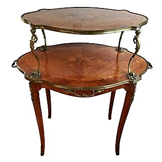 Antique French Louis XV-Style 2-Tier Table | Chairish