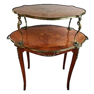 Antique French Louis XV-Style 2-Tier Table
