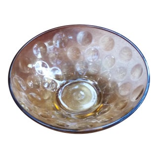Amber Glass Thumbprint Bowl