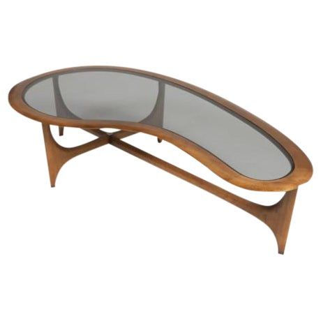 Lane Kidney-Shaped Walnut & Glass Coffee Table - Image 1 of 3