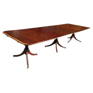 Dining Table in Mahogany, 3 Pedestal