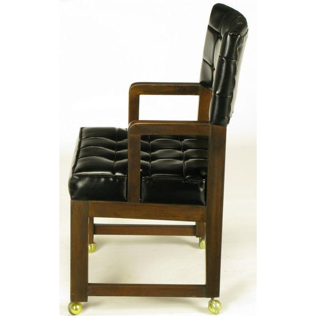 Black Button Tufted Mahogany Frame Desk Chair - Image 3 of 8