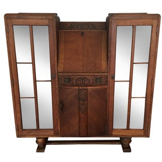 Oak Arts & Crafts-Style Display Secretary