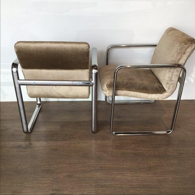 Vintage Acardia Chrome & Velvet Chairs - A Pair - Image 4 of 7