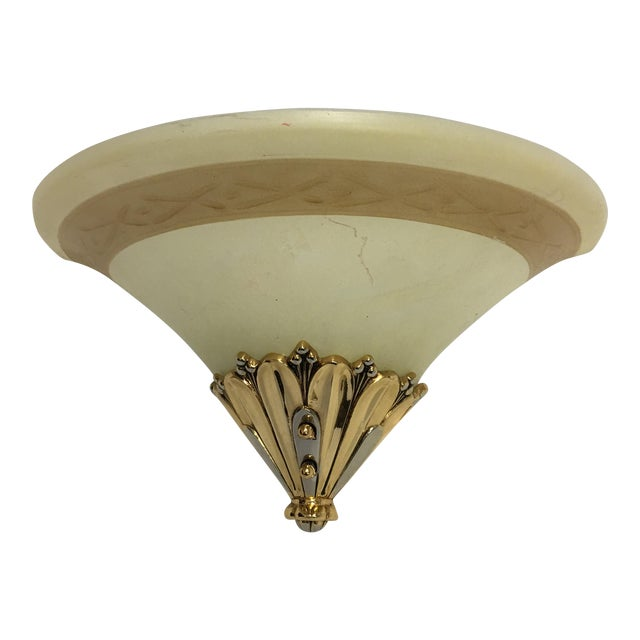 Brass & Frosted Glass Wall Sconce Chairish