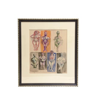 Signed Chamberlin Vintage One of Kind Nude/Abstract/ Figure Watercolor Custom Framed