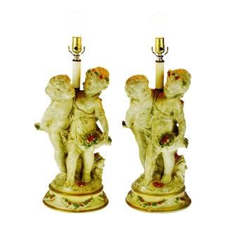 Vintage Ceramic Figural Lamps- A Pair