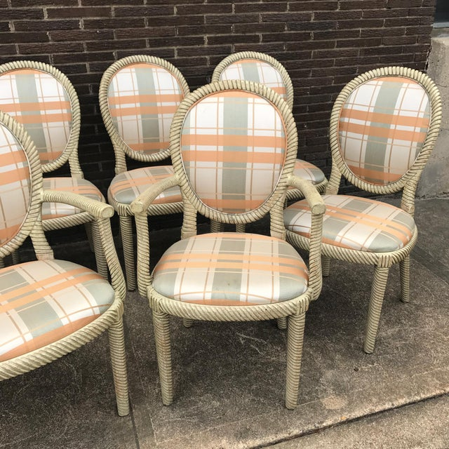 Vintage Carved Rope Dining Chairs - Set of 8 - Image 8 of 10