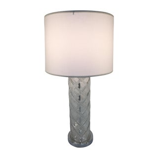 Glass Lamp With Woven Bamboo Pattern