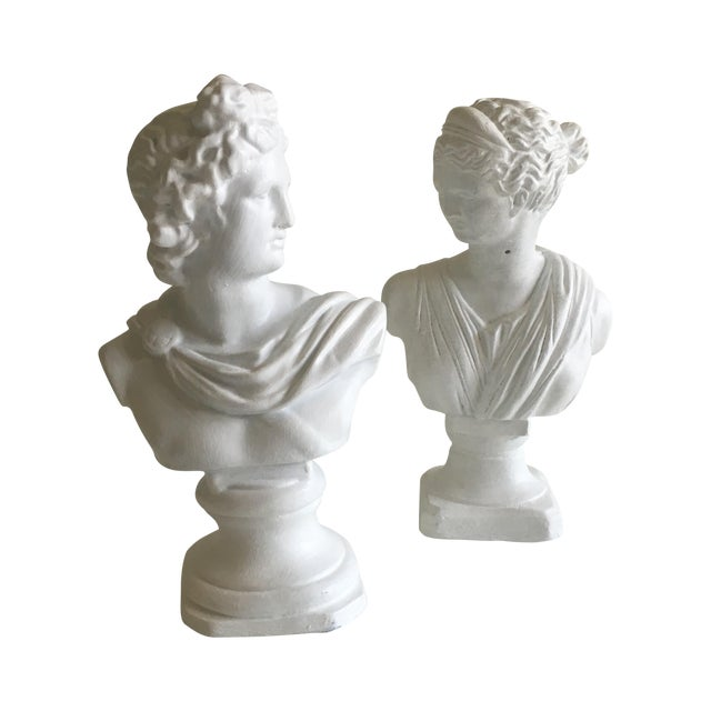 Vintage Greek Busts - Pair - Image 1 of 10