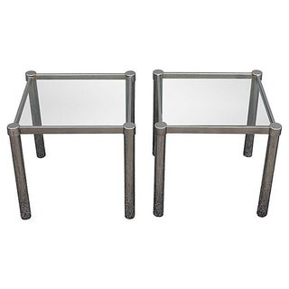Modern Chrome & Glass Accent Tables - A Pair