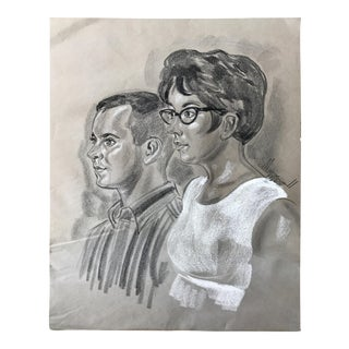 1966 Mid-Century Chalk Portrait Drawing