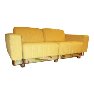 Matched Pair of Mid-Century Sofas with Chrome Bases